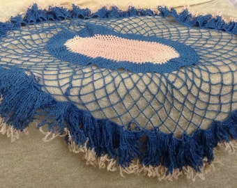 Beautiful Vintage Blue Pink Crocheted Doilie