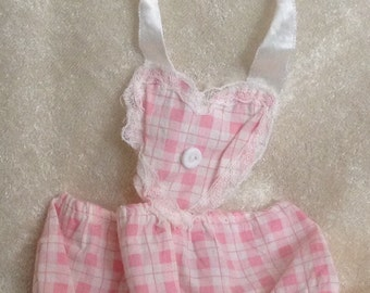 Vintage Pink Checked Sun Suit for Baby Doll