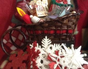 Vintage Sleigh Full of Christmas Ornaments look