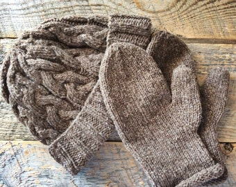 Womens winter hat and mittens - gift for women - hand knit winter hat for women - cable knit - brown wool - stocking hat