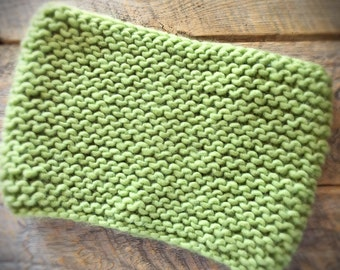 Womens green chunky knit tube scarf