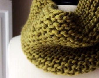 womens knit wool cowl scarf, soft neck warmer, tube scarf, tube scarf, bulky, moss green