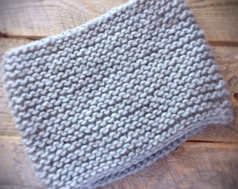 womens chunky knit wool cowl scarf - gray