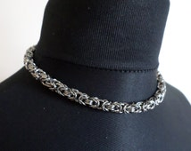 Minimalist Byzantine Weave Stainless Steel Chainmaille Choker - Celtic Style Chainmail Collar Necklace