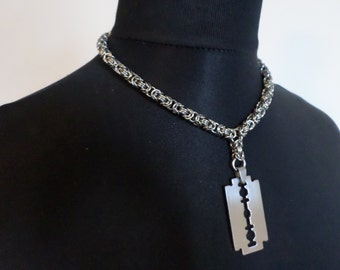 Stainless Steel Chainmail Razorblade Choker Necklace - Byzantine Weave Chainmaille Jewelry