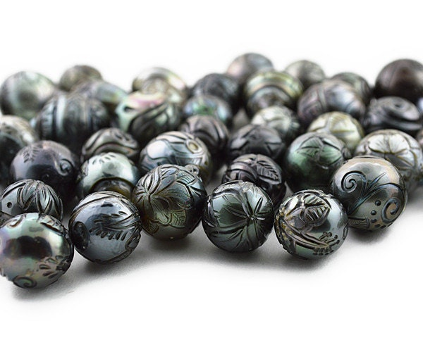 Hand Carved Tattoo Tahitian Pearls Sizes 11mm To 15mm
