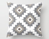 Southwestern Pillow Cover - Gray Taupe White -  Modern Aztec Throw Pillow - Home Decor - By Aldari Home