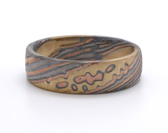 Rustic Twist Pattern Mokume Gane Ring In 4 color Palladium, 14kt Red Gold, 14kt Yellow Gold Palladium and Oxidized Silver with matte finish