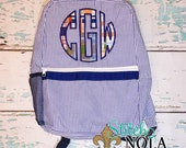 Navy Seersucker Backpack with Circle Monogram in Madras Plaid