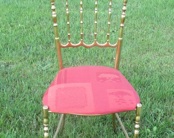 Vintage Authentic Chiavari Chair Brass Italian Hollywood Regency Design Seating