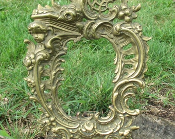 antique picture frame brass oval decorative Ornate Putti Angel Heavy