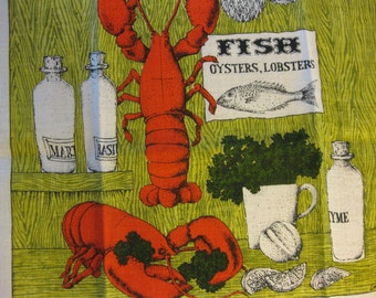 NOS Lobsters by Lois Long Vintage Linen Kitchen Tea Towel