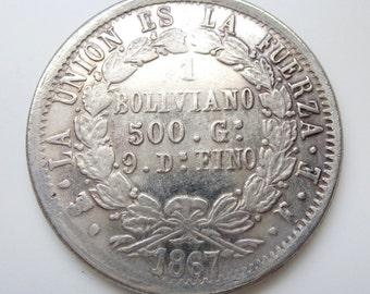 Interesting old replica coin - Boliviano 1867