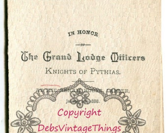 Abram House Knights of Pythias 1888 Lapeer Michigan Grand Lodge Officers