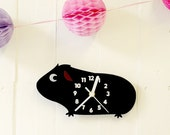 Guinea Pig wall or standing clock - laser cut wood/acrylic with engraved numbers - Kids Children's Nursery Cute Piggy Numbered Fun Kawaii