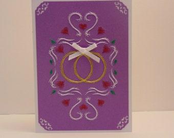 2 Gold Bands Wedding Card