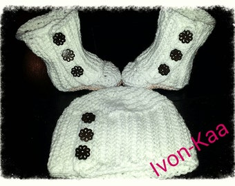 Crochet baby girl  set of  hat and booties, crochet outfit, infant set, photo prob, winter outfit