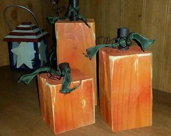 Wooden 4x4 post pumpkins