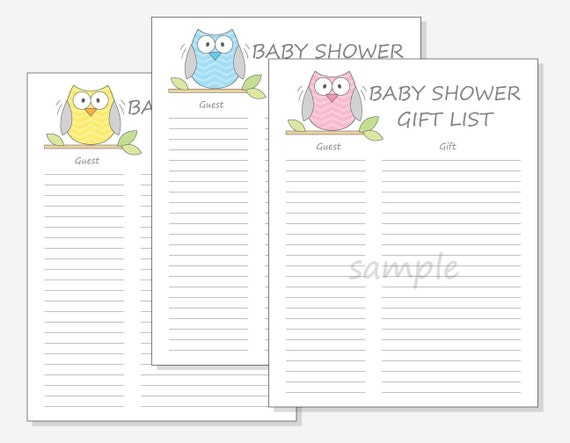 diy baby shower guest gift list printable chevron owl design with