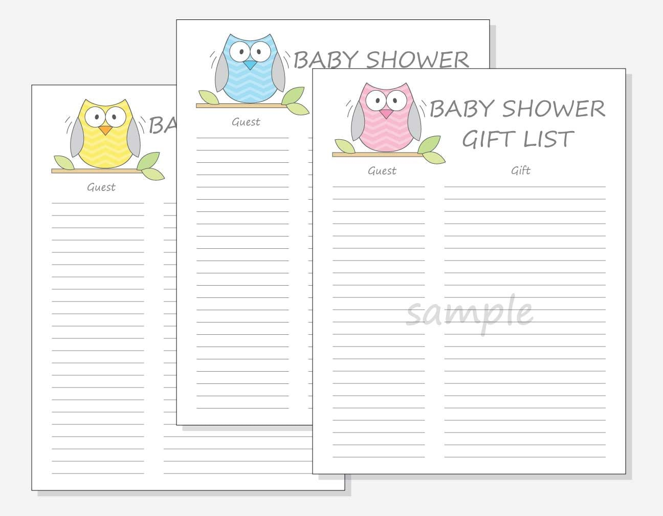 diy baby shower guest gift list printable chevron owl design