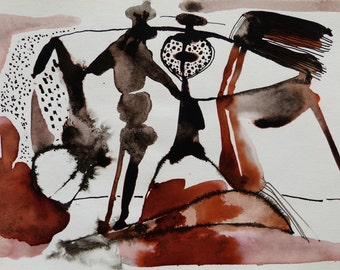WOULD YOU LIKE To Dance? original drawing bright abstract figure unique art directly from atist perfect gift for mother girlfriend Christmas