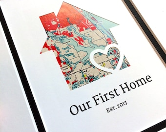 Our First Home - Personalized Home Map Christmas Gift - Matted Gift- First Home Gift- New House Housewarming Gift- First Home Christmas