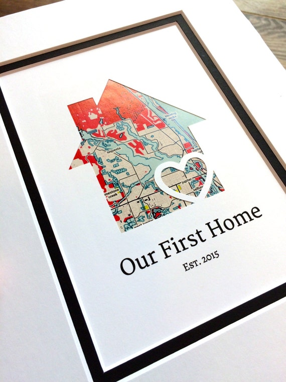 Our first home personalized home map matted gift first for Unique new home gifts