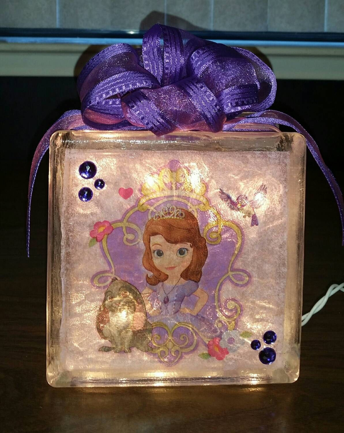Princess Sofia The First Nightlight Lighted Glass Block And