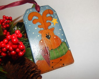 Reindeer Ornament Tole Painted Folk Art Wooden Gift Tag Whimsical Woodland Moose Christmas Decoration