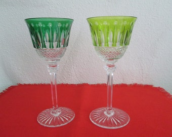 """Pair of St. Louis Crystal 7 3/4"""" Tommy Wine Glasses with Original St. Louis Fitted Box"""