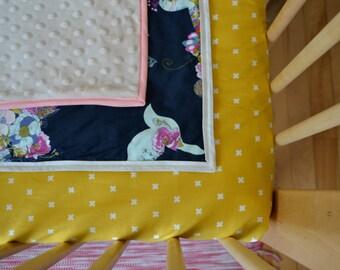 Couverture bébé / baby blanket  / 100% coton / navy floral bird / baby shower