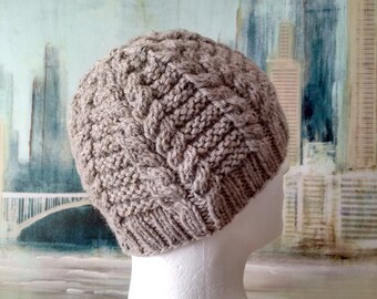 """Men's Knitted Hat winter hat, knitted beanie, chunky yarn, """"Rex-II' fitted cabled winter hat, Oatmeal Tweed, acrylic and wool"""