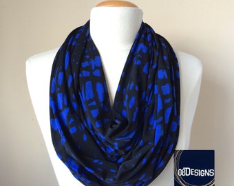 Womens Blue and Black Giraffe Infinity Scarf - Cobalt Blue 2 to 3 Circle Scarf - Handmade Royal Blue Fashion Gift Accessories for Her