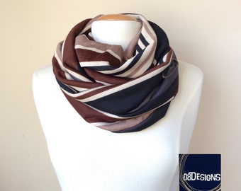 Women Pink Double Side Lace And Silk Infinity Scarf By