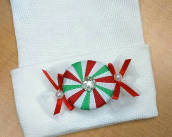 Newborn CHRISTMAS HOLIDAY hospital hat with a Cute Holiday Candy Applique.  Choice of Hat Colors. CUTE!