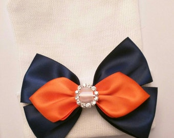 Newborn Hospital Hat. If you Like Navy with Orange, This is for You! Blue & Orange Bow with Rhinestone! Great Gift!