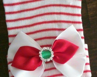 Newborn CHRISTMAS HOLIDAY hospital hat with a Beautiful White, Red & Green Bow and topped off with Rhinestones! CUTE! The Stella