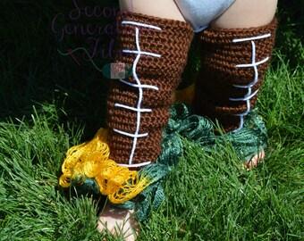 Football leg warmers, legwarmers, girly legwarmers, girly football, football for girls, crochet legwarmer, ruffle legwarmer, baby legwarmers