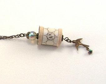 SALE!  Bird Charm Spool Necklace, Czech Glass Beads