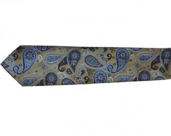 Gold and Blue Paisley Necktie