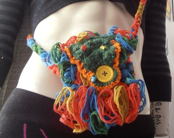 Unique, Free-Form Crocheted Rainbow Bag/Pouch
