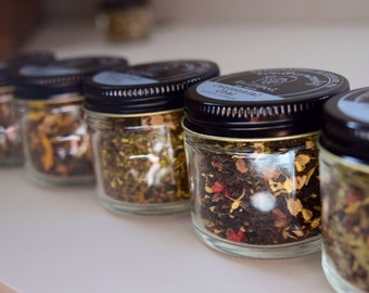 Tea Trio | ORGANIC Loose Leaf Tea Samplers | Beautiful Glass Jar Samplers  | Tea Gift