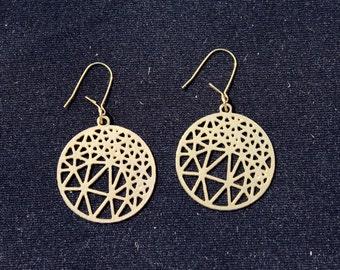 MIZYAN's gold plated rounded earrings, geometric earrings, triangle earrings, circle