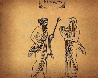 Ancient Greek Zeus Hera BLack Illustration Vintage Antique Digital Image Graphic Download Printable Clip Art Prints 300dpi svg jpg png