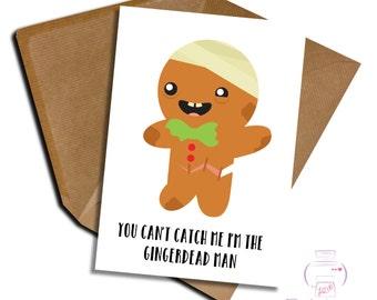 Birthday card Zombie fan Walking dead gingerdead adult blank inside