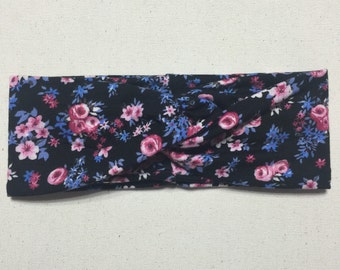 Pink & Blue Floral on Black Turban Twist Head Wrap, Headband