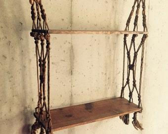 Two tiered macrame hanging bookshelf