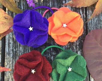 Autumn Hair Accessories, Fall Accessories, Flower Hair Ties, Personalised Hair Accessories, Autumn Fashion, Fall Fashion, Little Girls Gift