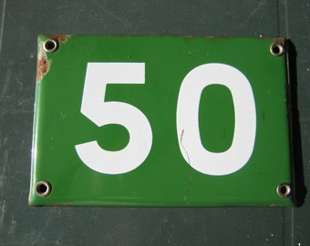 A Genuine French Vintage Green Enamel House Number Plate.