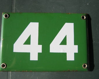 A Genuine French Vintage Enamel House Number Plate